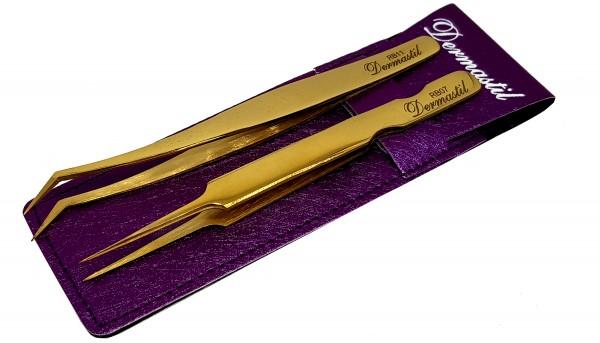 Edelstahl Präzisions Gold Pinzetten Set mit Lila Etui- Set 07