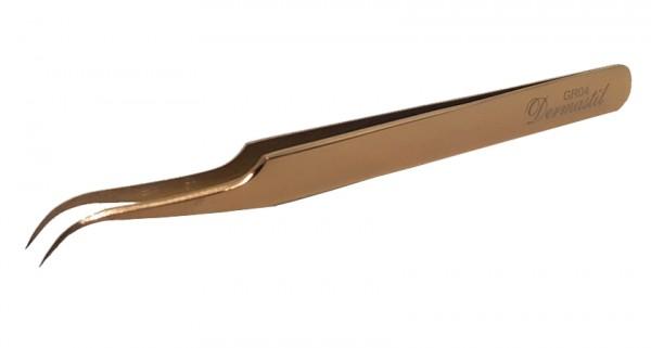 Dermastil Wimpernverlängerung Rose Gold Pinzette gebogen für Wimpern Extensions russian volume einzelwimpern