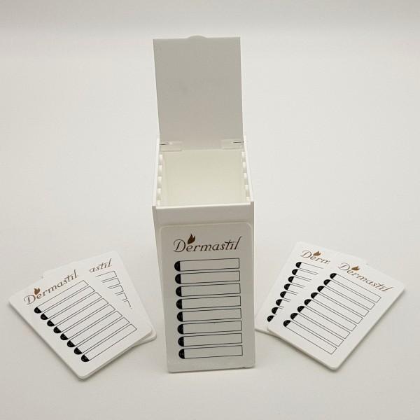 Lashbox-Storage Wimpernbox aus Acrylglass Weiß, inklusive 5 Platten, weisse Acrylplatten- Gold