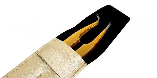Edelstahl Präzisions Gold- Silber Spitzen Pinzetten Set mit Beige Etui- Set 05