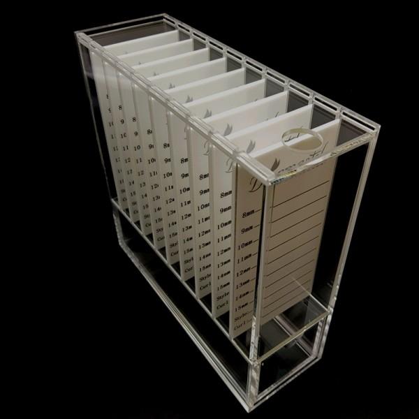 Lashbox-Storage Wimpernbox aus Acrylglass transparent, inklusive 9 Platten, weisse Acrylplatten- pro