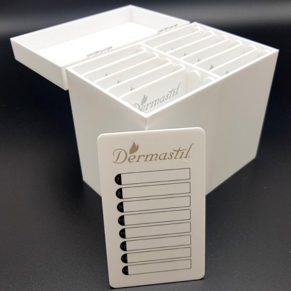 Lashbox-Storage Wimpernbox aus Acrylglass Weiß, inklusive 10 Platten, weisse Acrylplatten- Silber