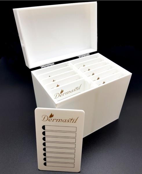Lashbox-Storage Wimpernbox aus Acrylglass Weiß, inklusive 10 Platten, weisse Acrylplatten- Gold